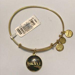 NWT Alex and Ani BRAVE shiny gold bracelet
